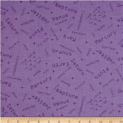 Space Age Words Purple Fabric
