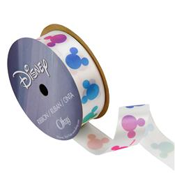 "7/8"" Mickey Mouse Ribbon Rainbow Silouhette Multi"