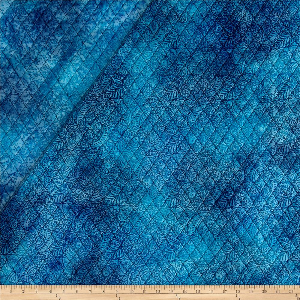 Double Face Quilted Indian Batik Medallions Light Blue