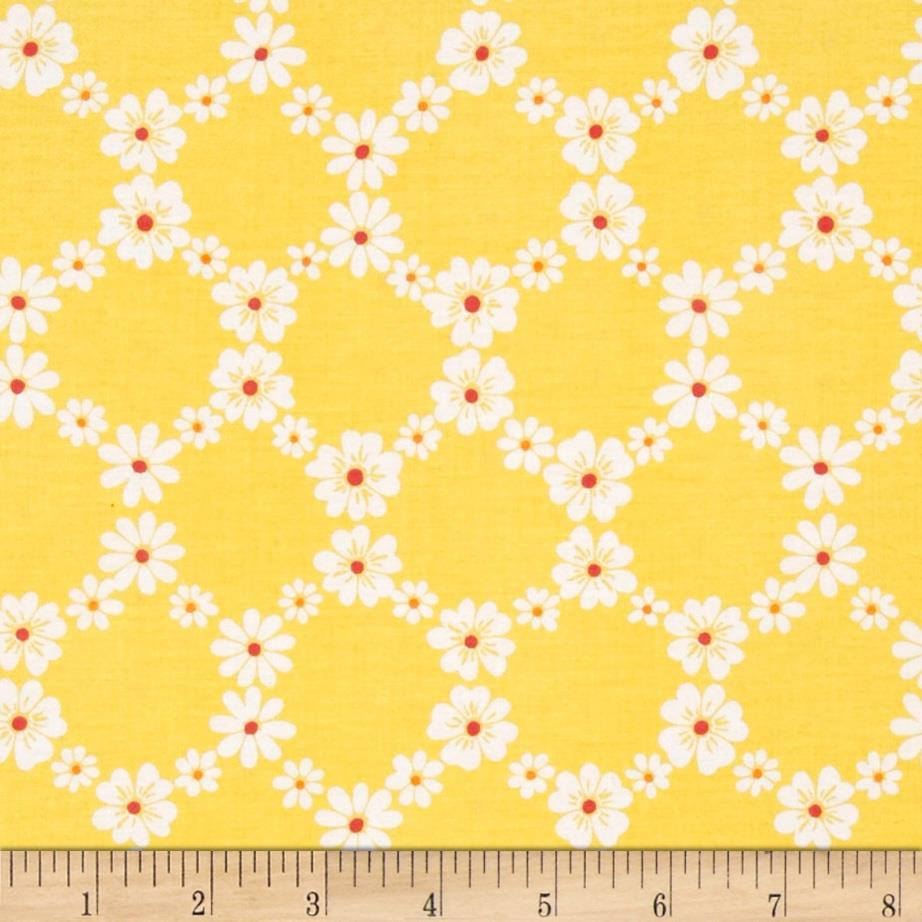 Michael Miller Happy Tones Jemma Floral Lattice Yellow