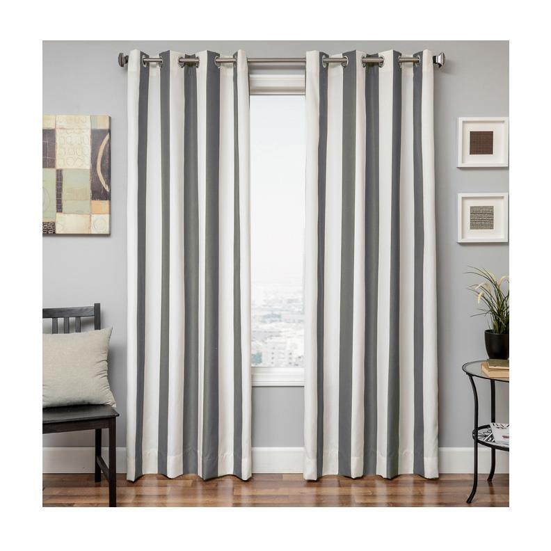 Sunbrella 84'' Grommet Stripe Outdoor Panel Natural/Charcoal