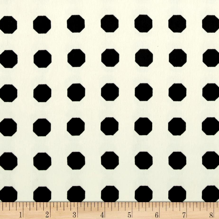Europa Silky Polyester Satin Shirting Black Octagons on Cream Fabric