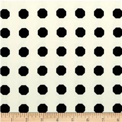 Europa Silky Polyester Satin Shirting Black Octagons on Cream