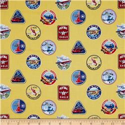 Flying High Badges Gold Fabric
