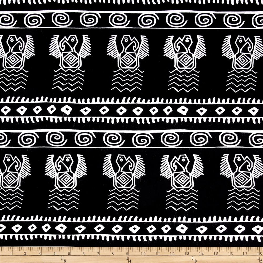 Rayon Challis Aztec Birds Black/White