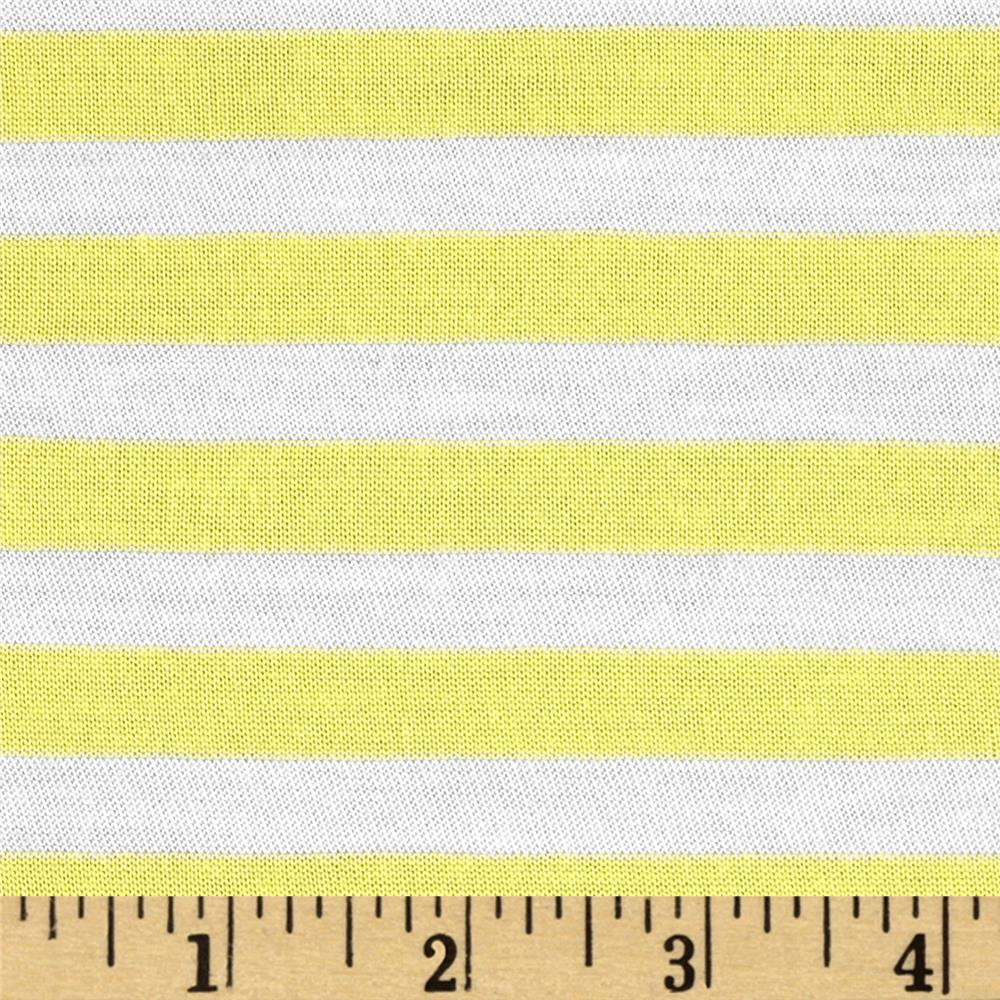 Designer Yarn Dyed Jersey Knit Stripes Yellow/White