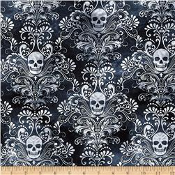 Timeless Treasures Skulls Damask Charcoal