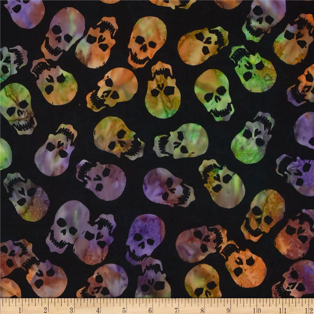 Timeless Treasures Tonga Batiks Haunted Skulls Spooky