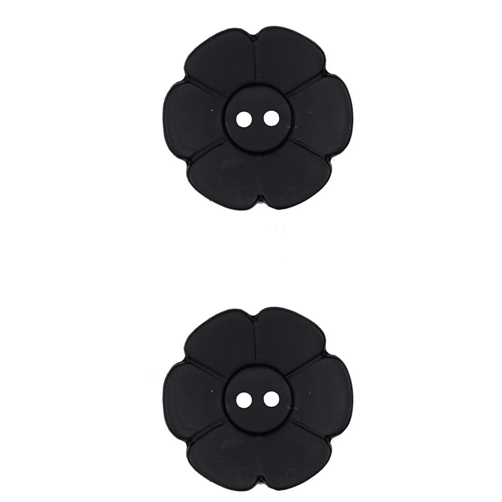 "Dill Novelty Button 1  1/8"" Flower Black"