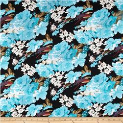 Stretch Ponte de Roma Knit Florals Black/Turquoise Fabric
