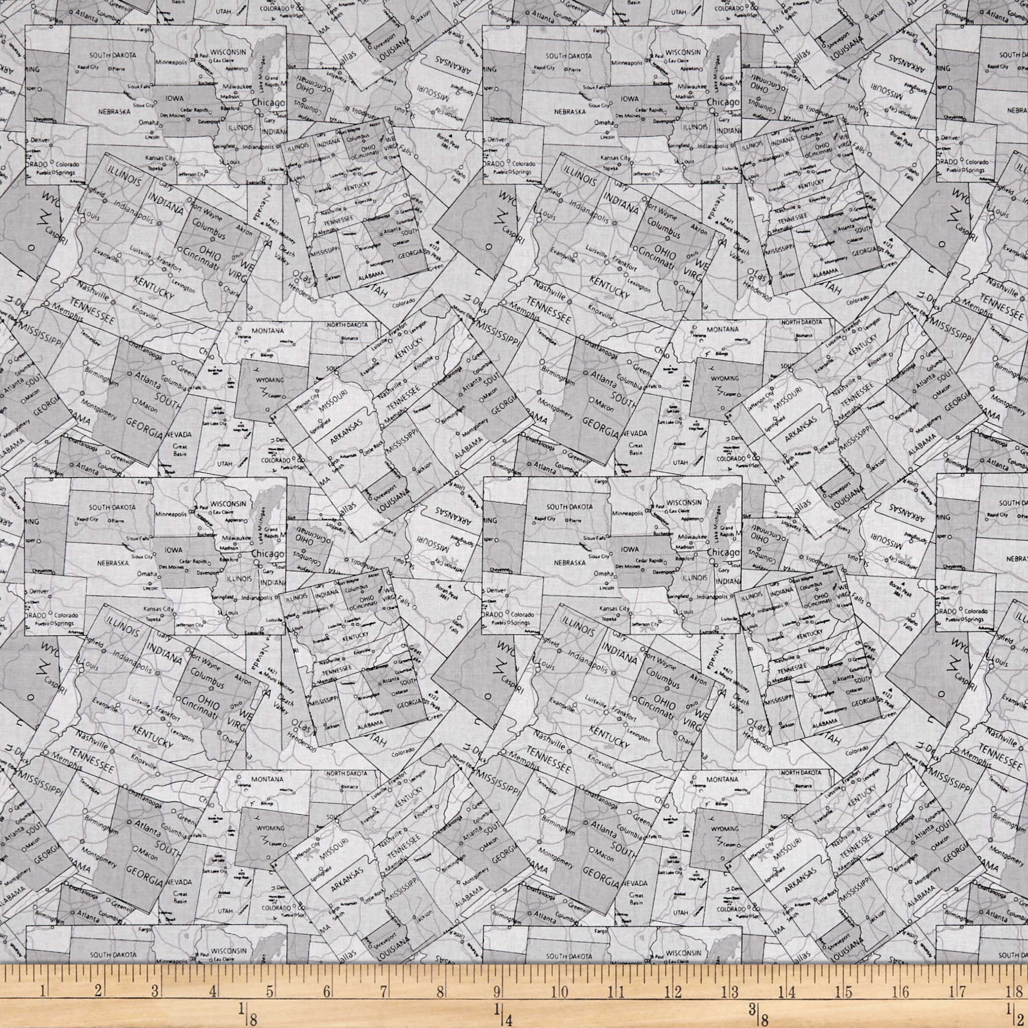 Coast To Coast Map  Gray Fabric