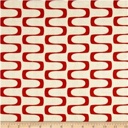 Cloud 9 Organic In Theory Barkcloth Wavelength Red