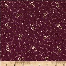 "108"" Wide Florals & Swirls Quilt Back Burgundy/Tan"