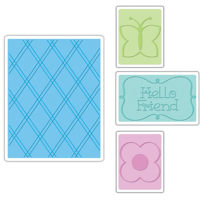 Sizzix Textured Impressions Embossing Folders 4 Pack-Hello Friend Set