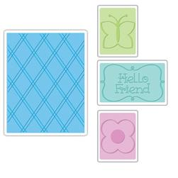 Sizzix Textured Impressions Embossing Folders 4 Pack-Hello Friend