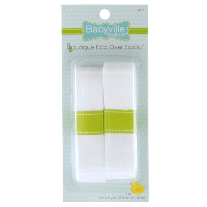 Babyville Boutique Fold Over Elastic White