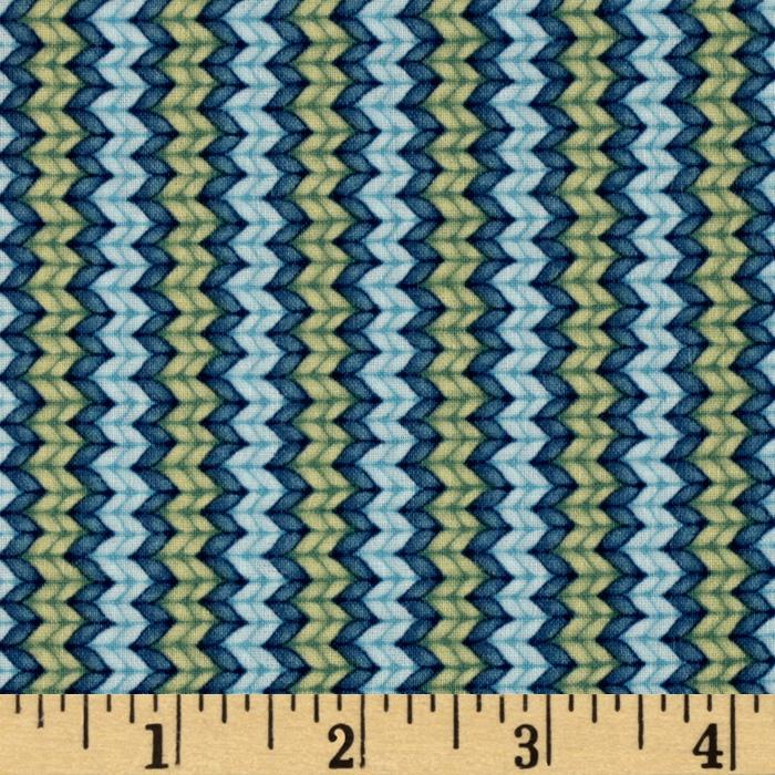 Snow Show Narrow Knitted Stripe Light Blue/Green