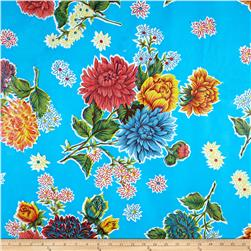 Oil Cloth Mums Light Blue Fabric