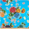 Oil Cloth Mums Light Blue