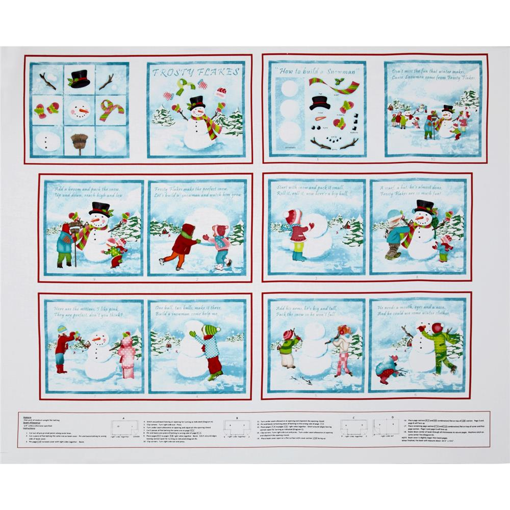 Frosty Flakes Book Panel 24 In. White/Blue Fabric By The Yard