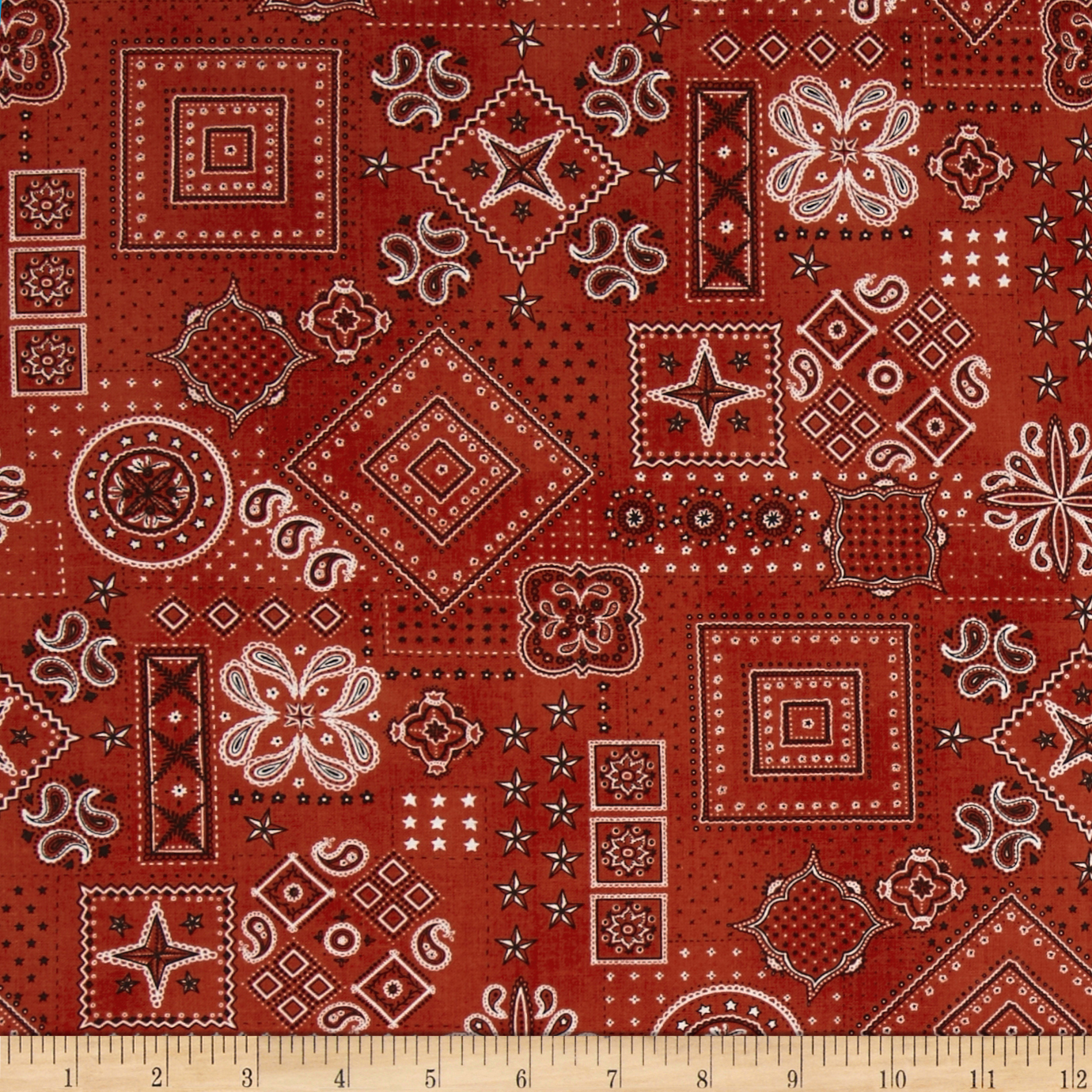 American Beauty Bandana Allover Red Fabric