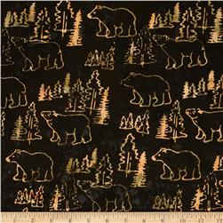 Moda Pine Island Batiks Bear Print Steel Brown