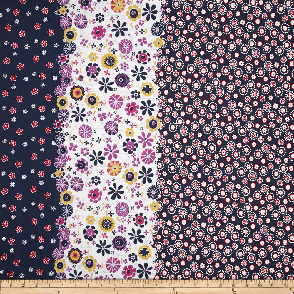 Cotton Lawn Shirting Floral Navy/Red