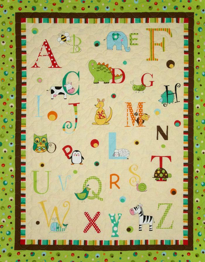 A to Zoo Double-Sided Quilted Alphabet Panel Green