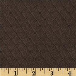 Faux Leather Embossed Diamonds Brown