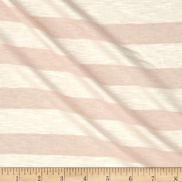Jersey Knit Slub Peach Stripes