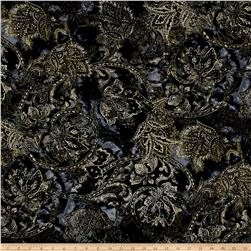 Timeless Treasures Metallic Zephyr Textured Jacobean Noir