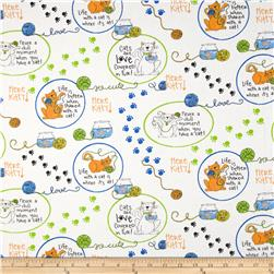 Dog's Life Cat's Life Cat Vignettes White Fabric