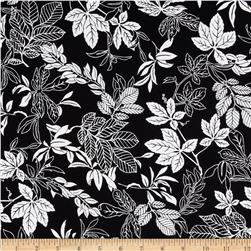 108'' Wide Quilt Back Modern Leaf Black/White Fabric