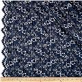 French Puckered Scallop Edge Floral Lace Navy/Silver