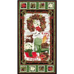 Timeless Treasures Country Christmas Metallic 24 In. Christmas Panel Black