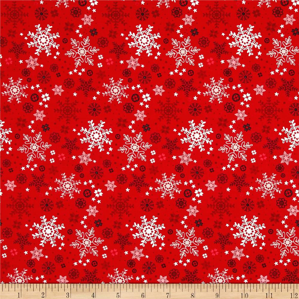Natalie Alex Snow Delightful Snowflakes Red Fabric