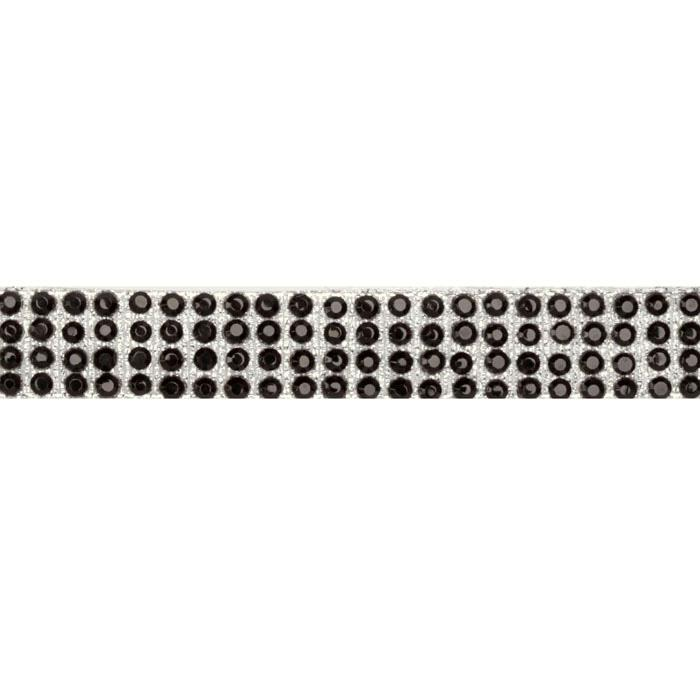 Hot Fix Flatback Rhinestone Trim Jet/Silver Band