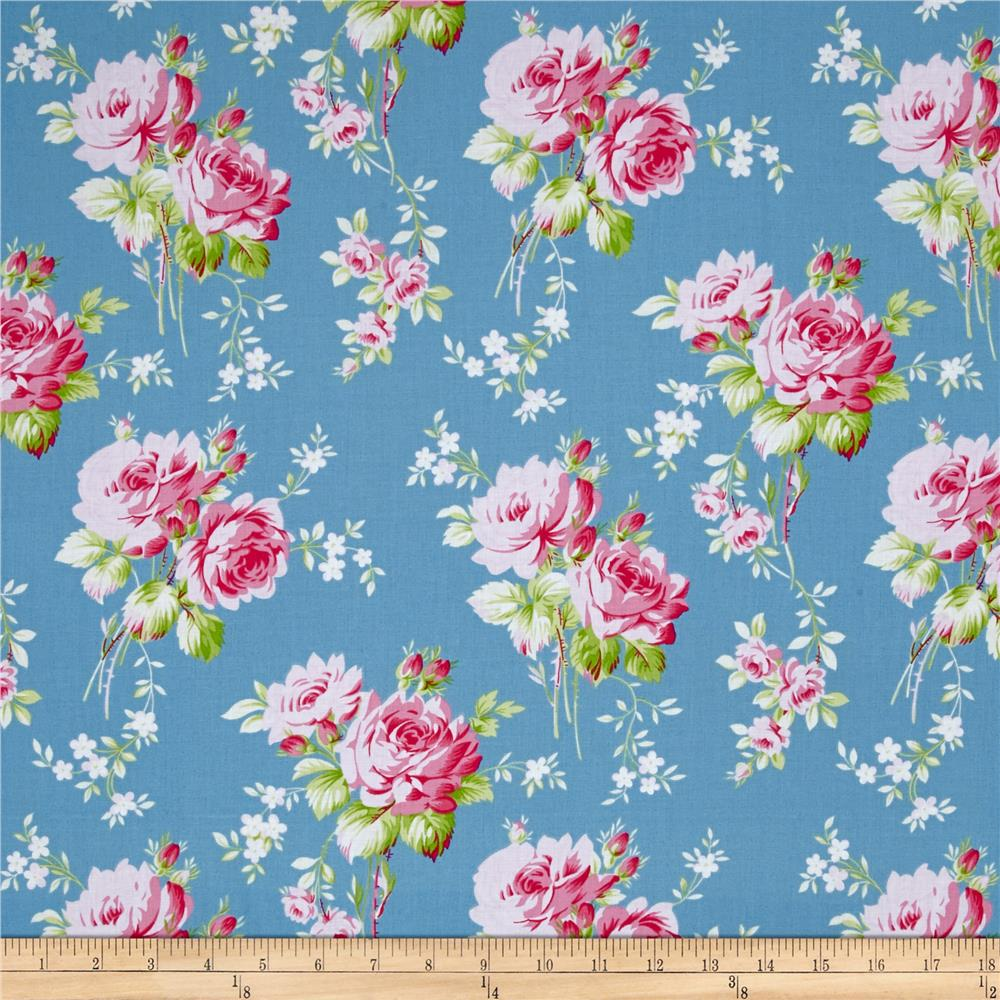 Tanya Whelan Sadie's Dance Card Rose Bouquet Blue Fabric By The Yard