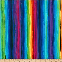 Timeless Treasures Fantasy Forest Painterly Stripe Multi