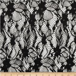 Nylon Lace Abstract Floral Jet Black