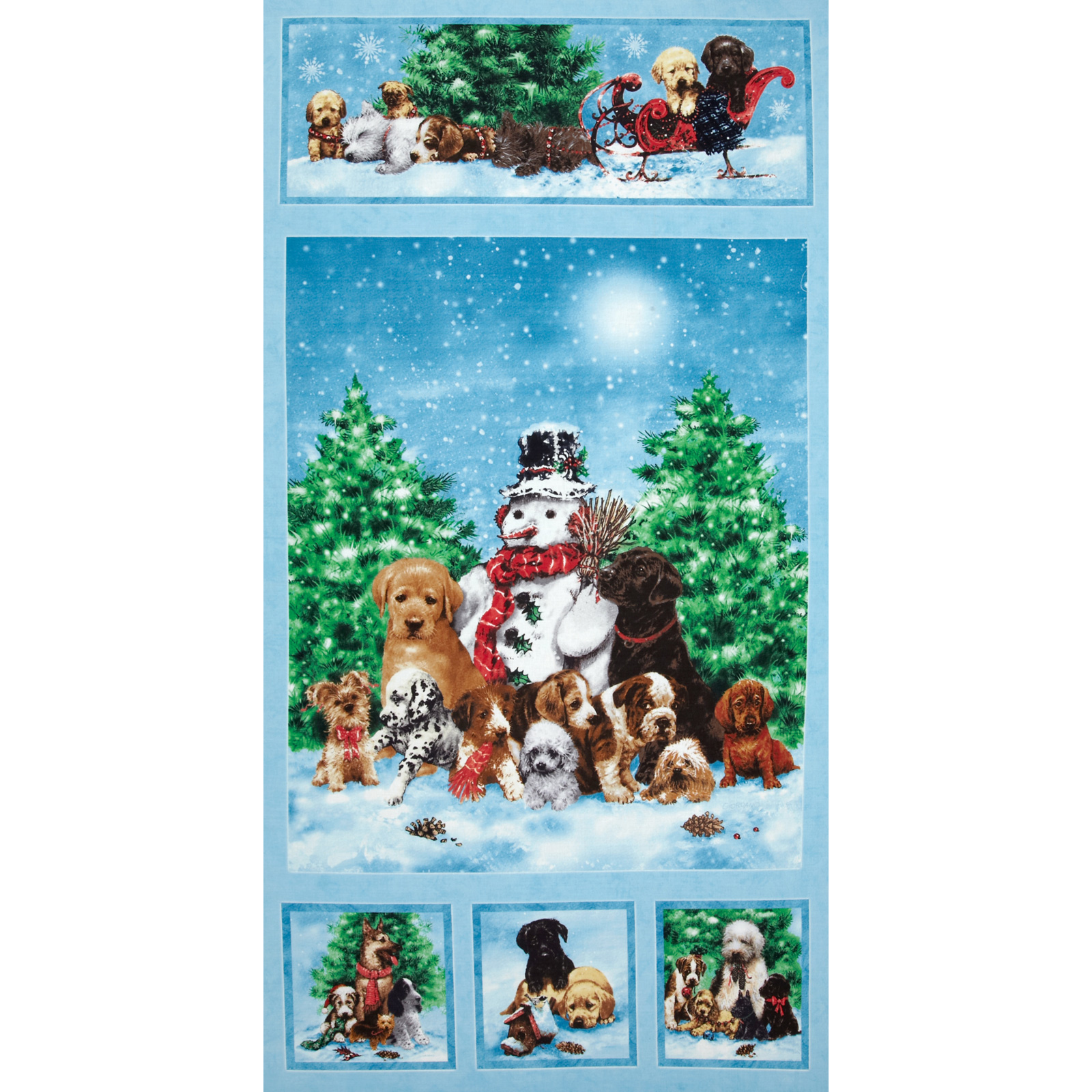 Holiday Pups Panel Blue Fabric