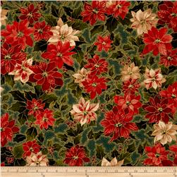Moda Holly Night Metallic Poinsettia & Holly Evergreen