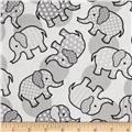 Tossed Elephants White/Grey