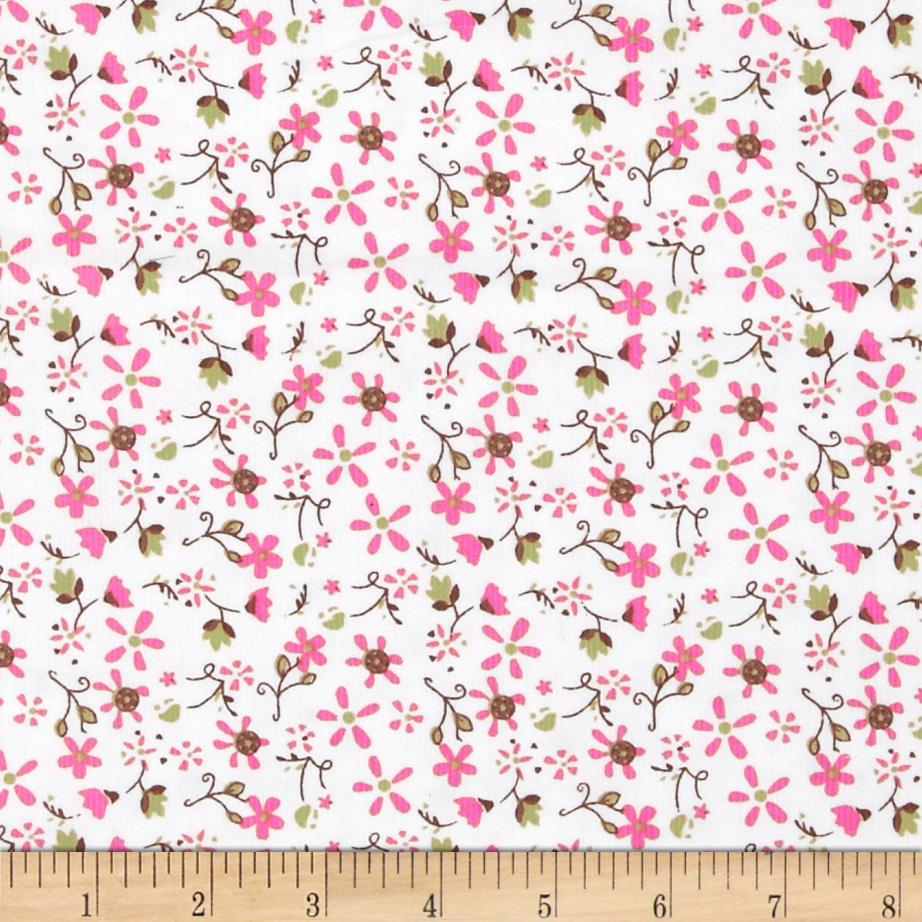 21 Wale Corduroy Small Flowers Pink/Brown