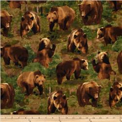 Kanvas The Great North Wilderness Flannel Brown Bear Green