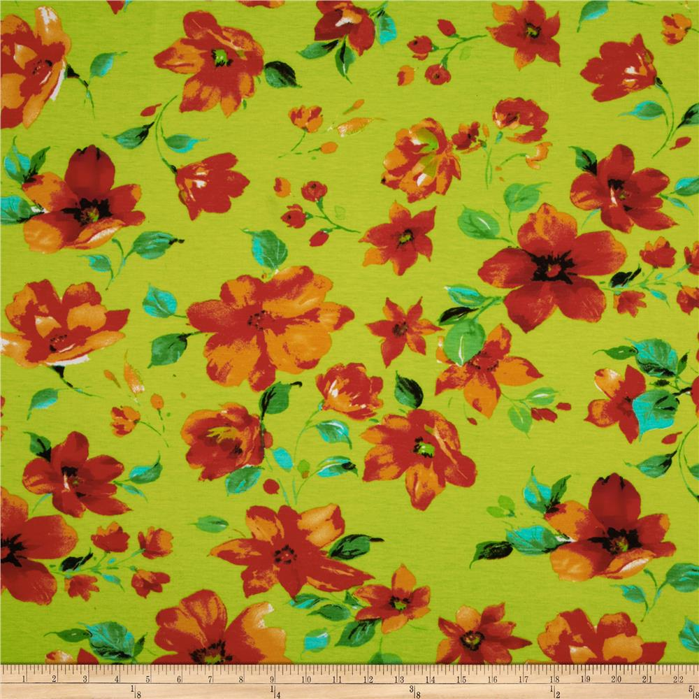 Designer Stretch Jersey Knit Flowers Rust/Lime