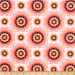 Flowerette Cotton Poly Broadcloth Coral