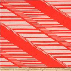 Jersey Knit Abstract Lines Coral