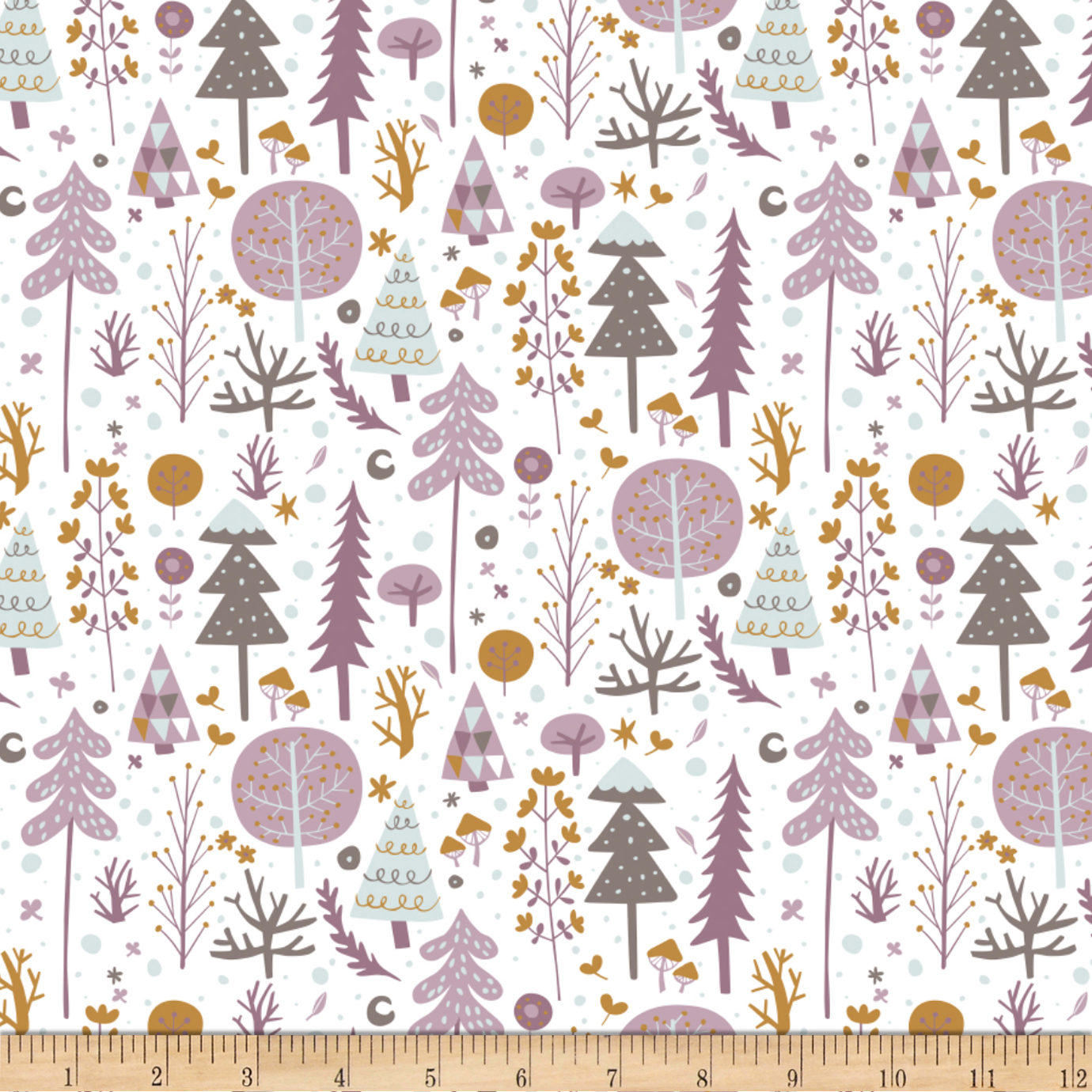 Snowfall Tundra White Fabric by Eugene in USA
