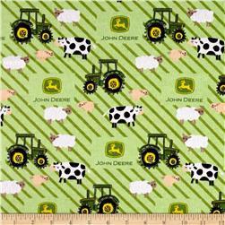 John Deere Nursery Flannel Tractor Ducks Stripes Green